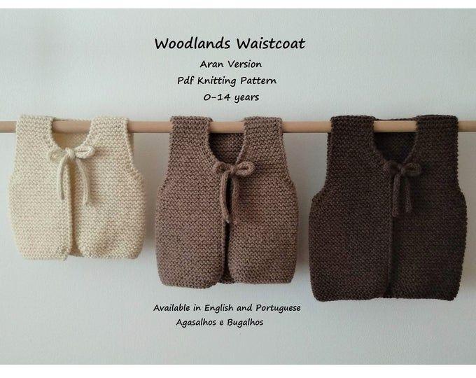 PDF-pattern Knit baby vest Knitting pattern Baby waistcoat Digital download PDF Easy knit pattern Baby clothing Toddler knits Baby shower