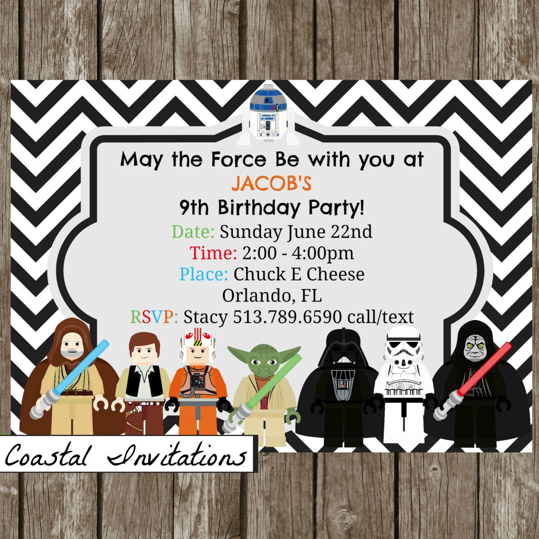 Lego Star Wars Birthday Party Invitation Black Chevron Custom ...