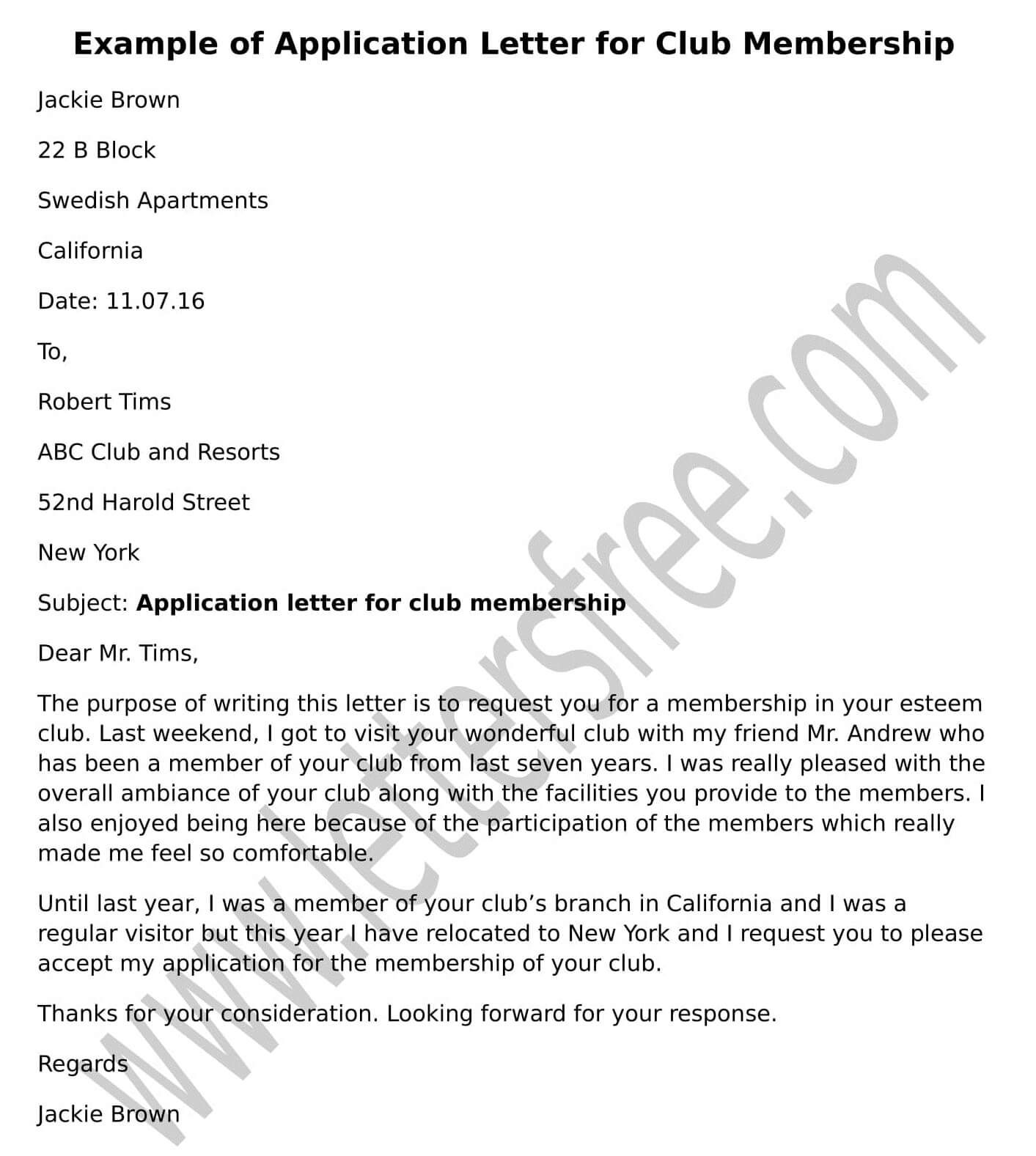 Sample Application Letter For Club Membership To Write A