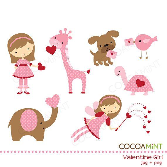 Valentine Girl Clip Art | Imagenes infantiles, Imprimibles y Apliques
