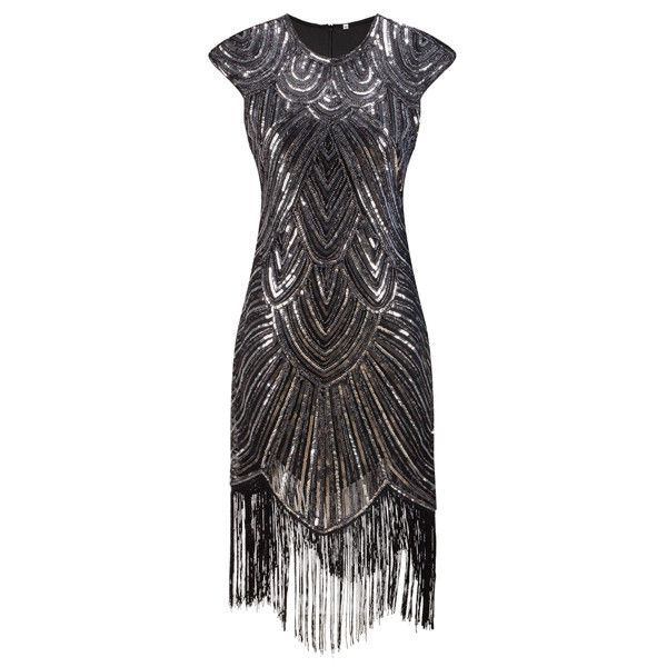 Shining Woman 1920s Flapper Dress Vintage Great Gatsby Charleston Sequin  Fringe Evening Party Dress Plus Size Dress - On Trends Avenue e194ad2eb429
