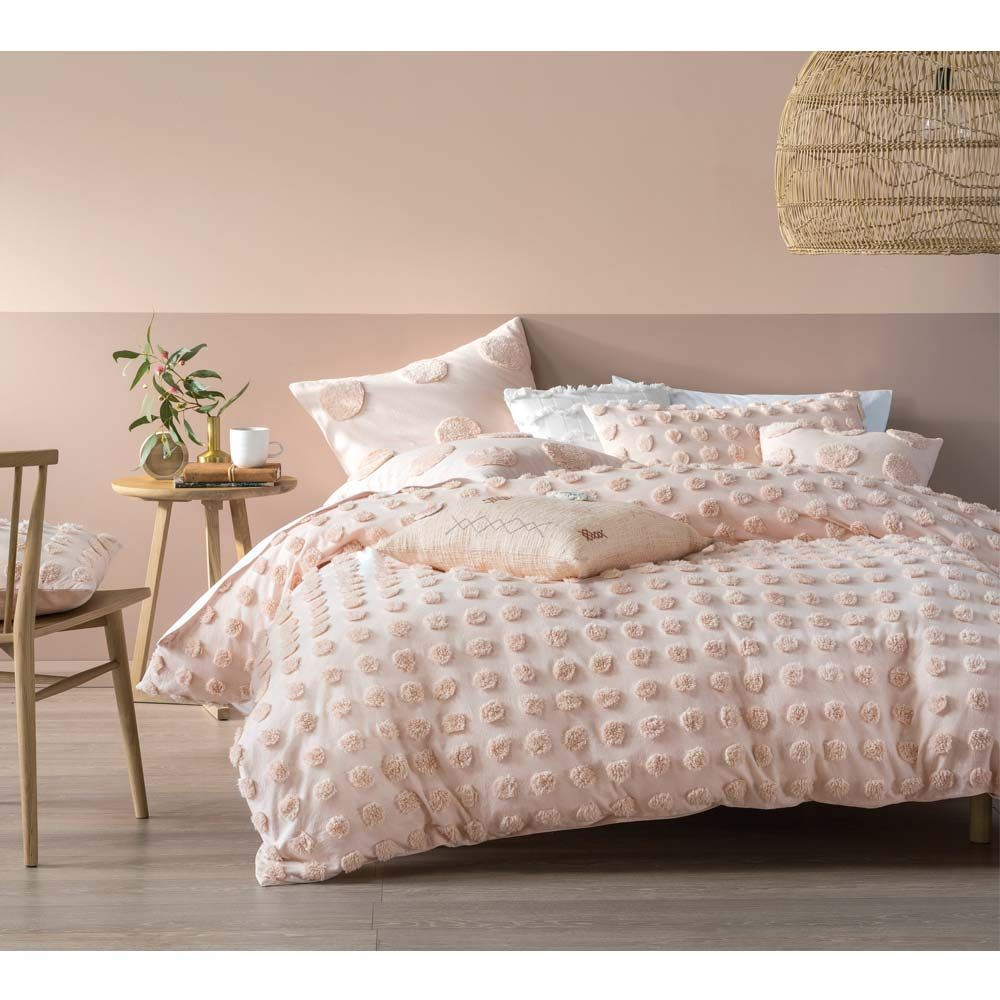 Prancing Pom Pom Bed Linen Set In Blush Pink Extra Pair Of