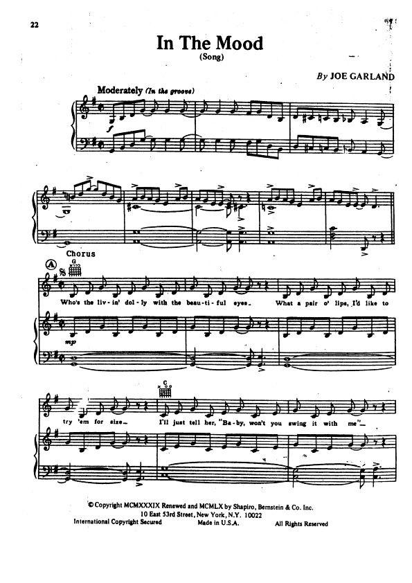 Lyric ariana grande piano lyrics : In The Mood - Glenn Miller piano sheet preview | Piano Tutorials ...
