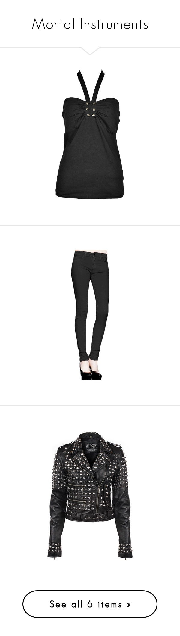"""""""Mortal Instruments"""" by joanna-davies ❤ liked on Polyvore featuring tops, jeans, skinny fit jeans, rock jeans, super skinny jeans, skinny leg jeans, skinny jeans, jackets, leather and studded"""