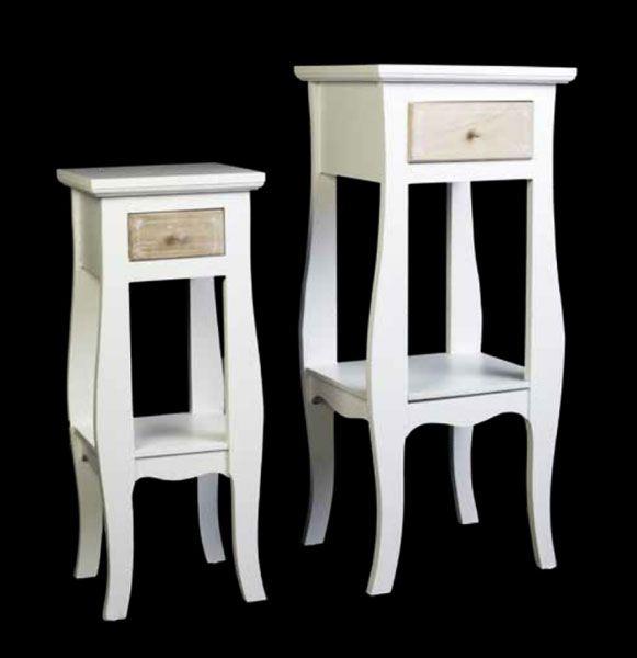 Pedestales estilo vintage en color blanco, muebles auxiliares retro ...