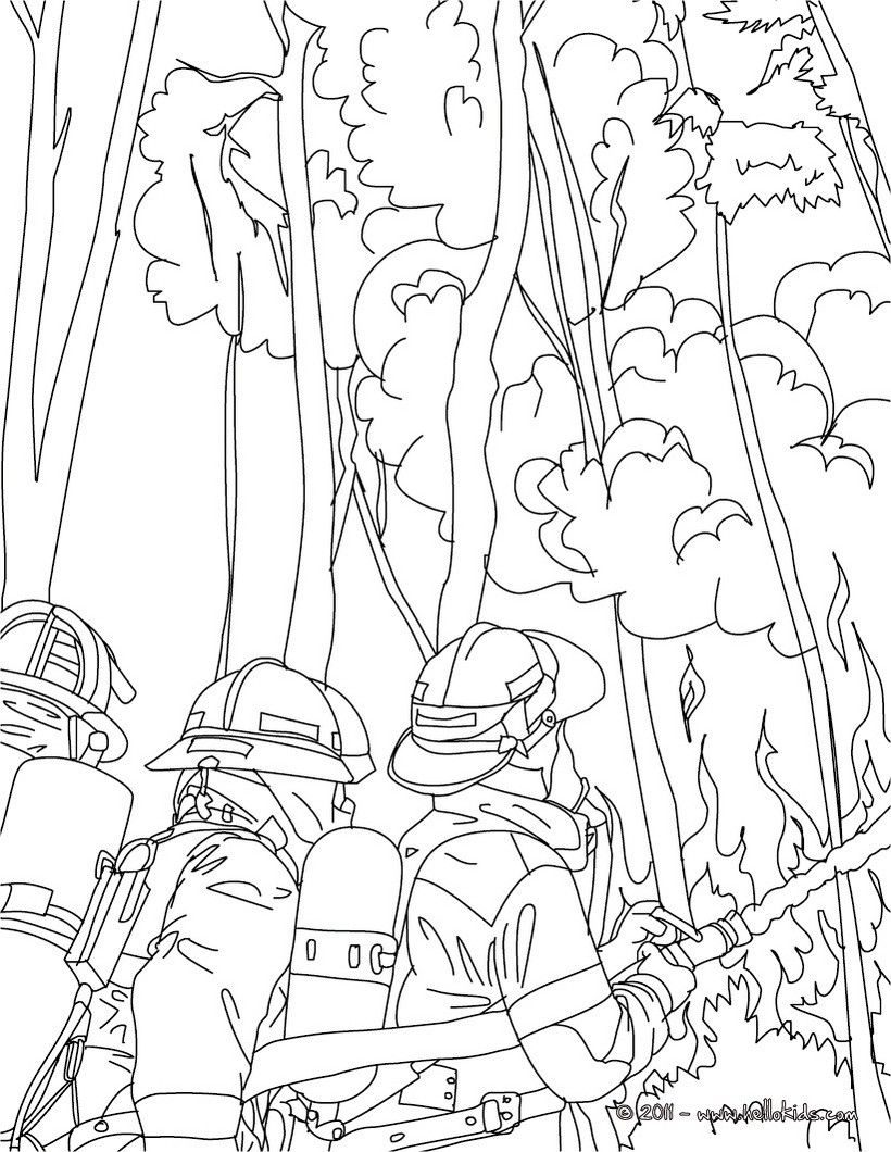 firemen fighting tree fire coloring page amazing way for kids to