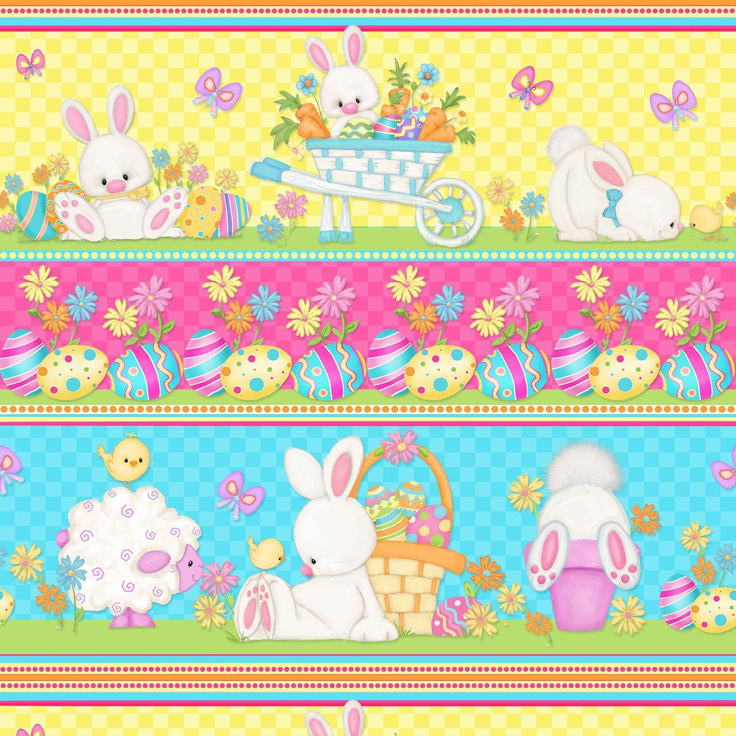 PASTELS QUILTING BY THE HALF YARD BUNNIES~CHICKS~BASKETS~EGGS EASTER FABRIC
