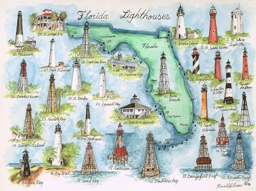 Florida Lighthouses Map.Digital Vintage Maps Old Americas Instant Download High