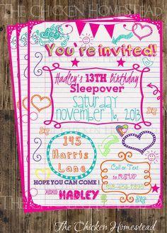 Custom Girl S Sweet 16 Sleepover Doodle Birthday Invitation