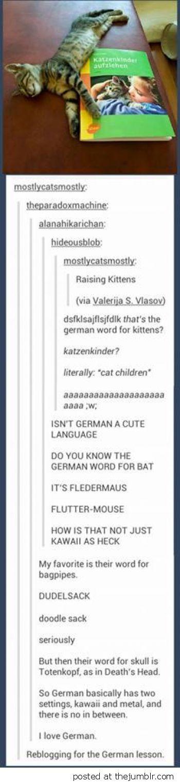 German has two settings  Kawaii and Metal
