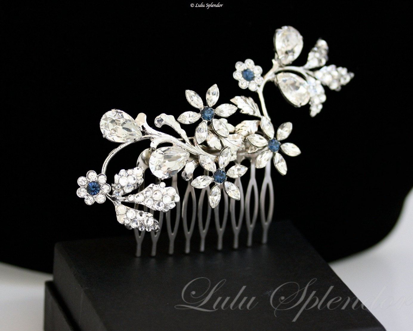 hair accessories navy blue wedding hair comb flower comb silver