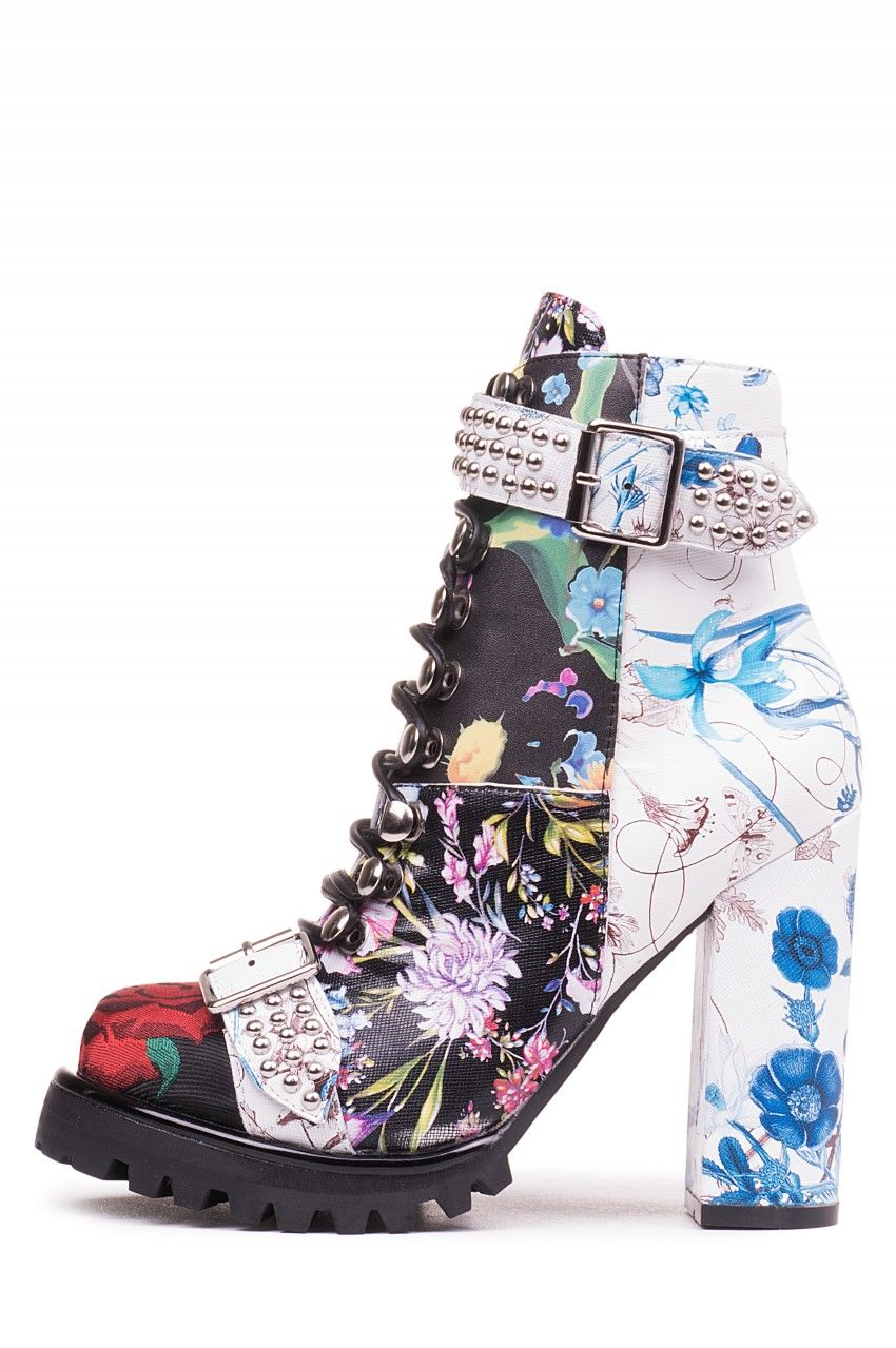 Jeffrey Campbell Shoes Lilith 2 New Arrivals In Black White Blue Floral Combo Boots Jeffrey Campbell Shoes Kawaii Shoes