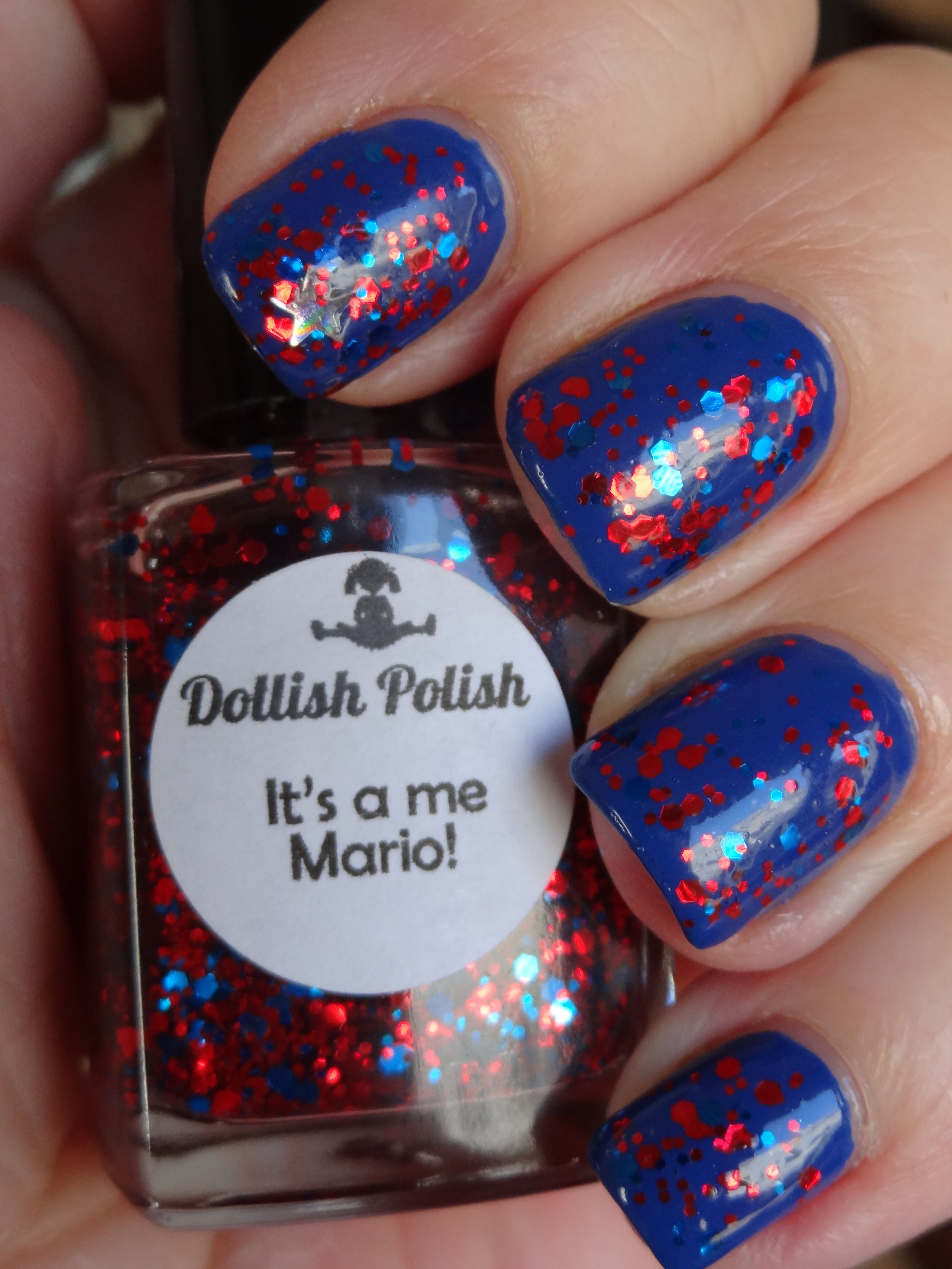 Dollish Polish It's a me Mario over Catrice Pool Party at Night