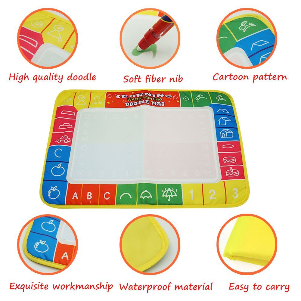 Learning Water Painting Doodle Mat 4 Colors Magic Water Drawing Pad Toddlers Writing Board With 1 Magic W Painting Supplies Water Drawing Educational Baby Toys