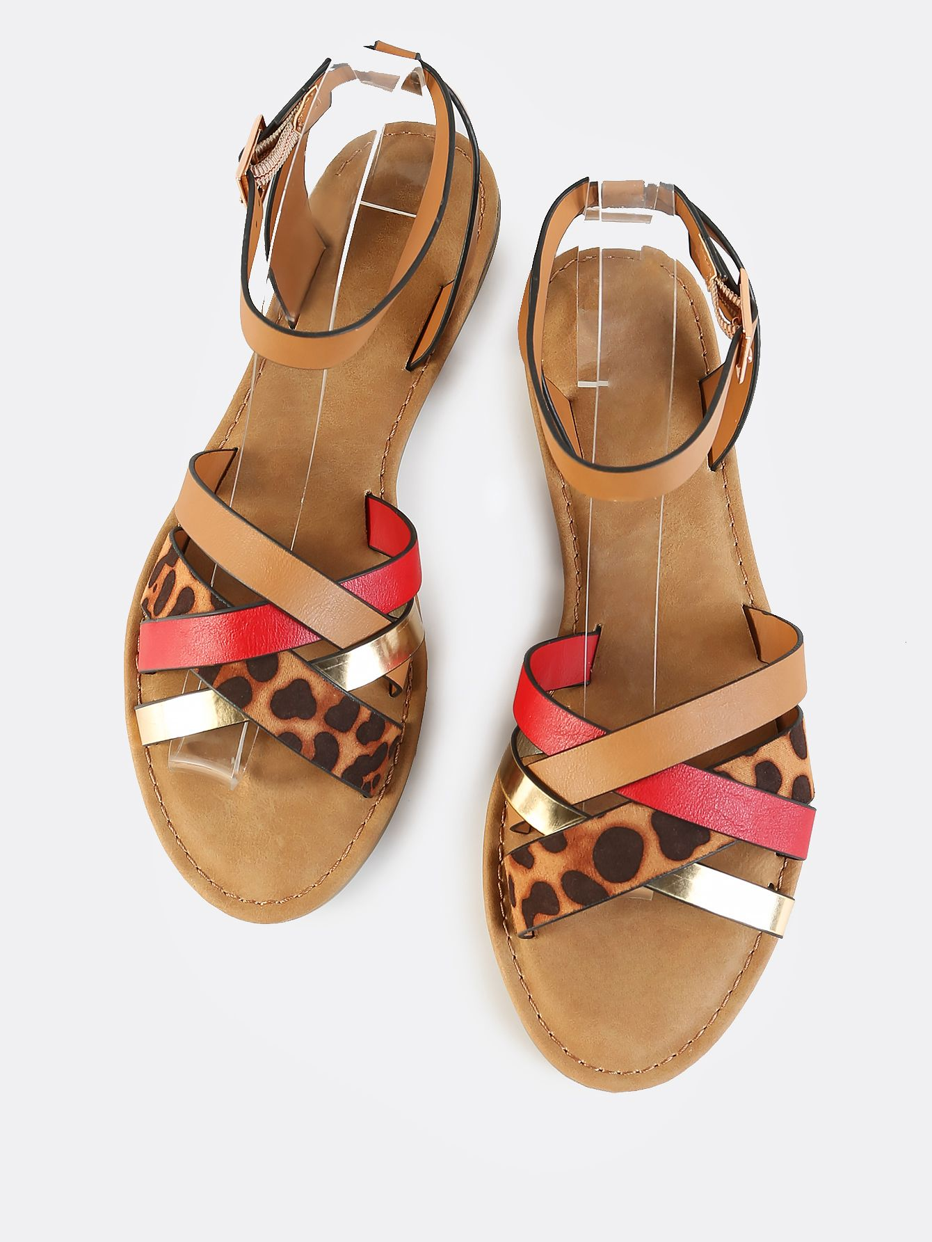 154a8d1ed SheIn offers Leopard Multi Strap Ankle Sandals RED   more to fit your  fashionable needs. Online shopping for ...
