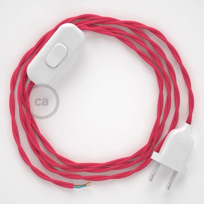 Cordon pour lampe, câble TM08 Effet Soie Fuchsia 1,80 m Choisissez - couleur des fils electrique
