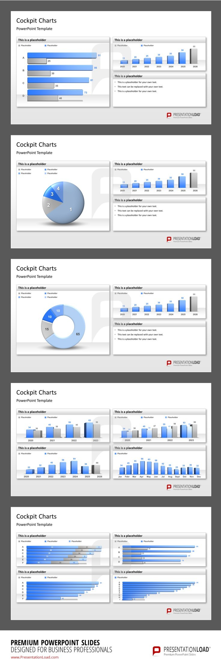 PowerPoint diagrams, selection of high quality charts, bars ...