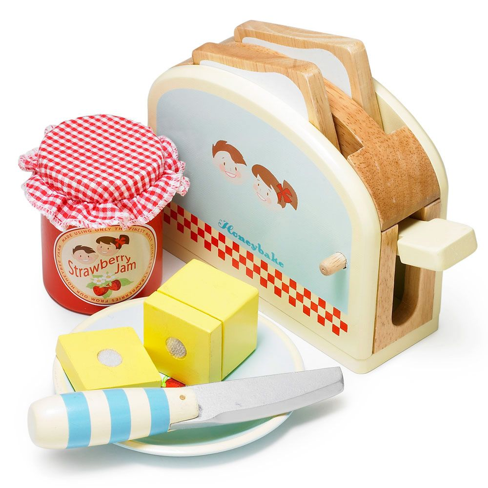 Toys beautiful and affordable all wood play kitchen sets inhabitots - Wooden Toy Toaster Set This Is Pretend Play At Its Very Finest Your Kids Will Love This Toy Toaster It S Made From Smooth Solid Wood And The Toast
