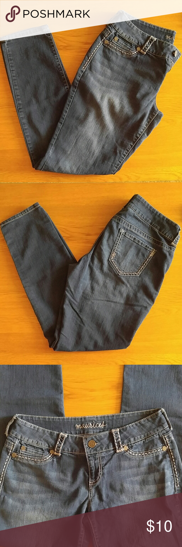 Maurices Jegging Very dark wash. No rips, holes or stains. Too big on me. Very dark blue wash. Maurices Jeans