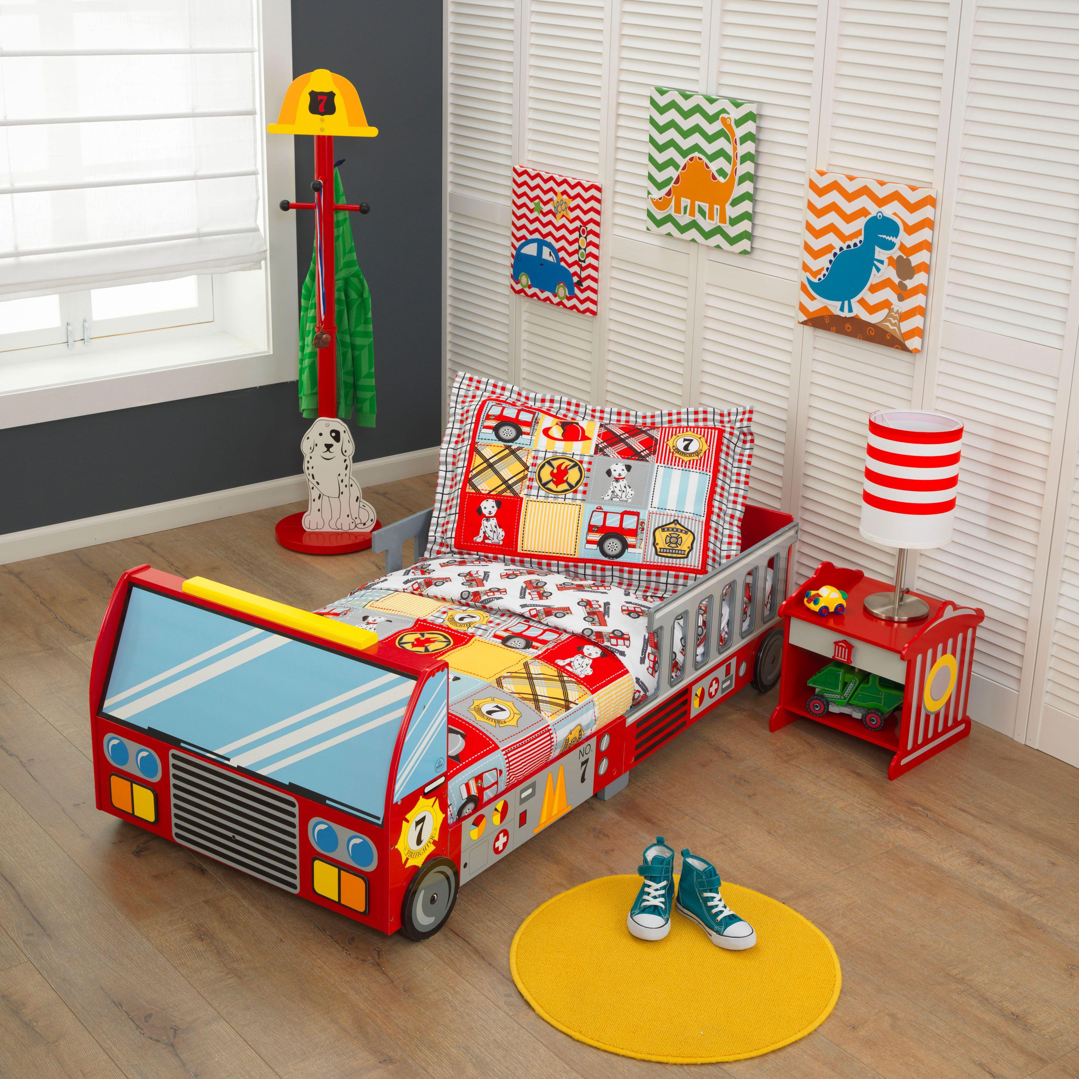 Fire Truck Toddler Bed Room Set Lit Enfant Lit Pour Tout Petits Deco Chambre Garcon