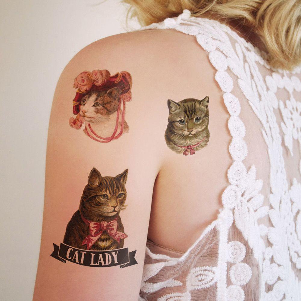Cat Lady Set Temporary Tattoo 3 Pieces Cat Tattoo Cat Lady Gift Cat Tattoo Small