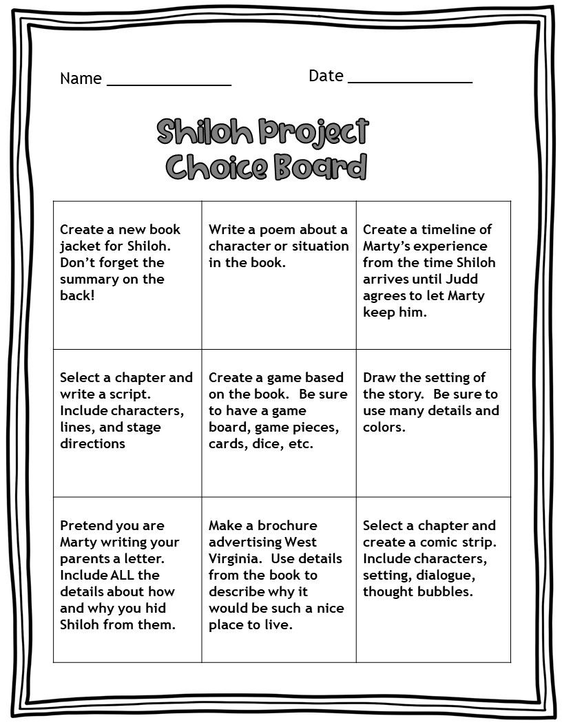 small resolution of Shiloh Novel Study   Novel studies