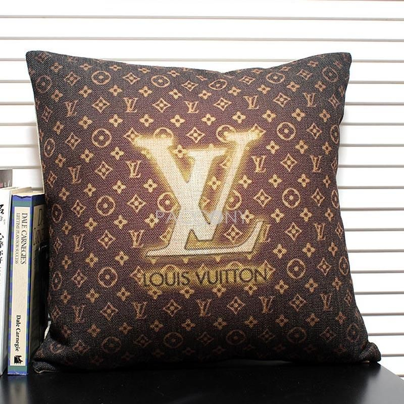 lv linen decorative pillowcase with filling louis vuitton pinterest. Black Bedroom Furniture Sets. Home Design Ideas