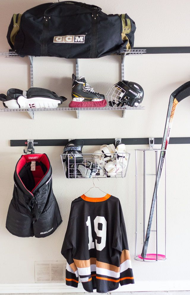 Gearing Up For Hockey Season At Our House Hockey Equipment Hockey Bedroom Hockey Room