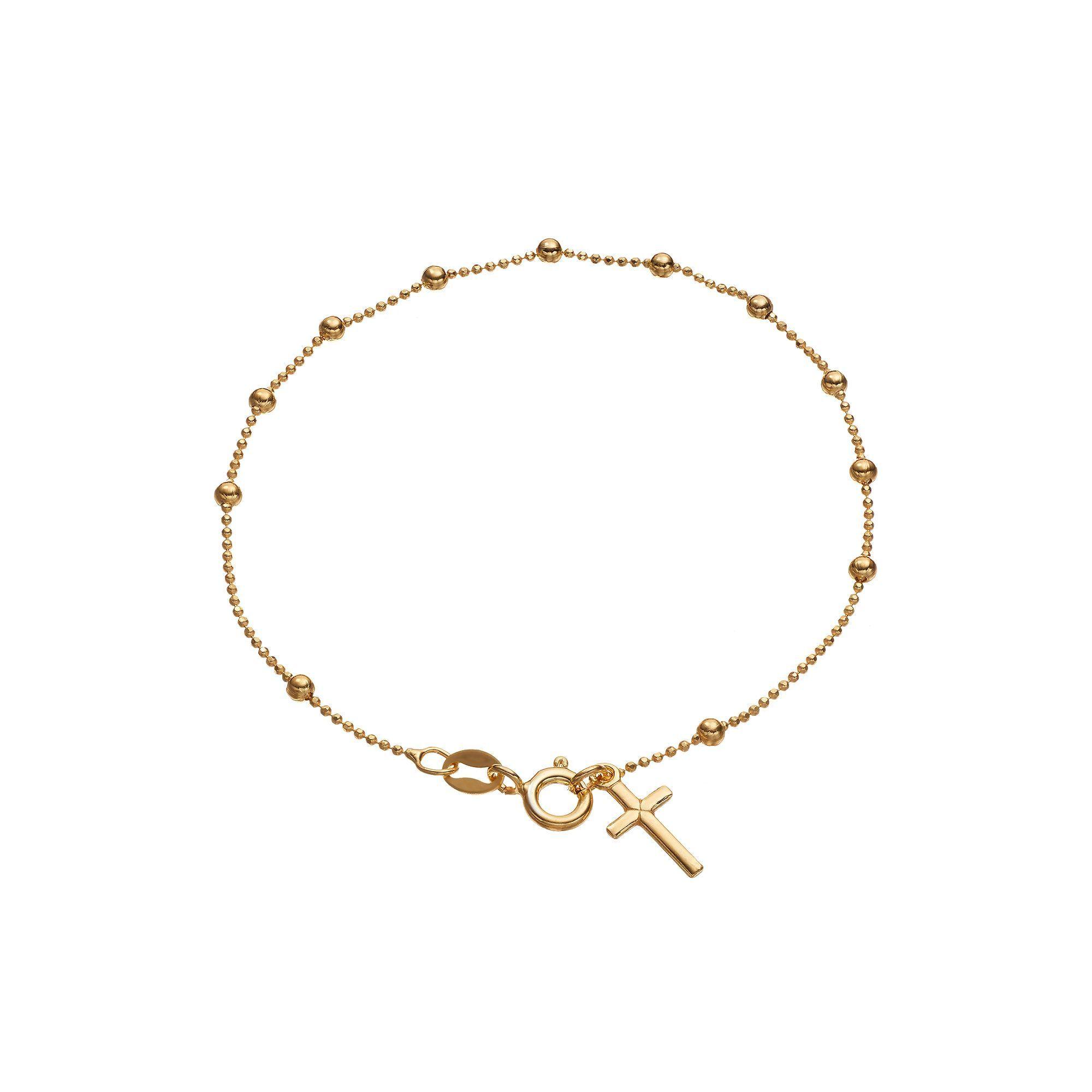 K gold bonded beaded chain u cross charm bracelet products