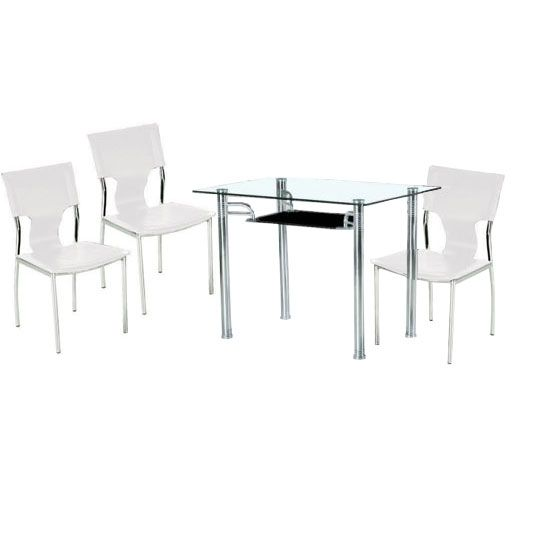 sarah glass table with black undershelf and 4 white chairs Modern Glass Tables and Chairs Modern Dining Tables and Chairs