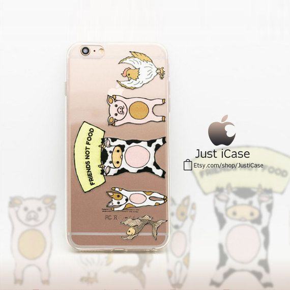 Animals Friends Not Food Dog Cow Pig Fish Chicken iPhone 6 6S Plus Case Cute