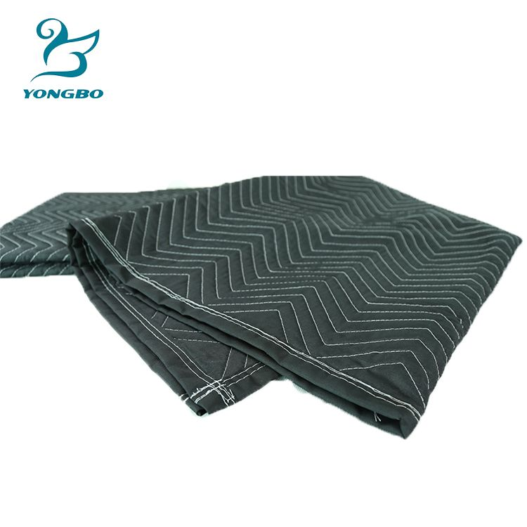Black Polyester Quilted Moving Blankets Compress Packs Moving Blankets Recycled Blankets Quilted