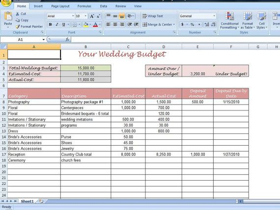 Simple Wedding Budget Worksheet Printable and by EverythingExcel – Wedding Budget Worksheet Excel