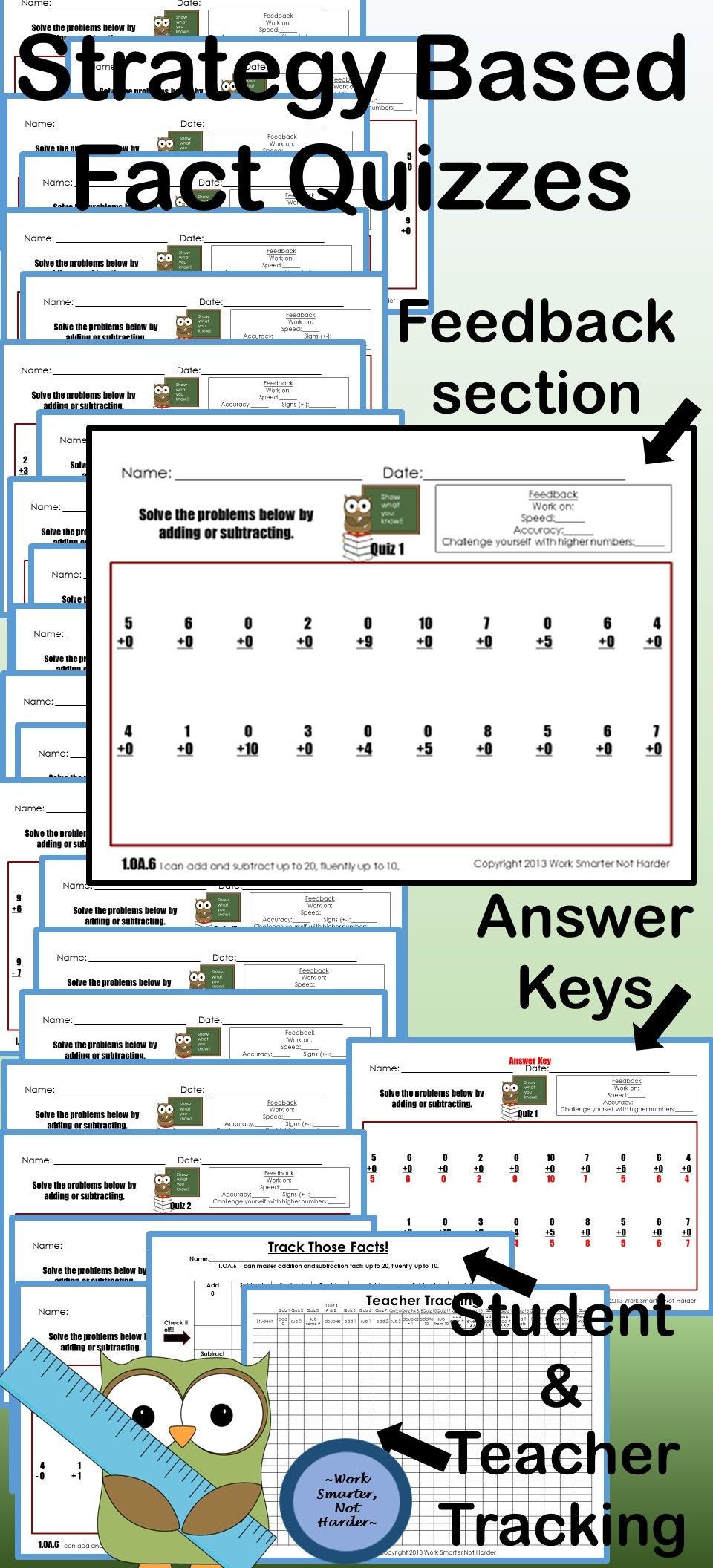First Grade Math Facts Pack | Quizzes, Students and Maths