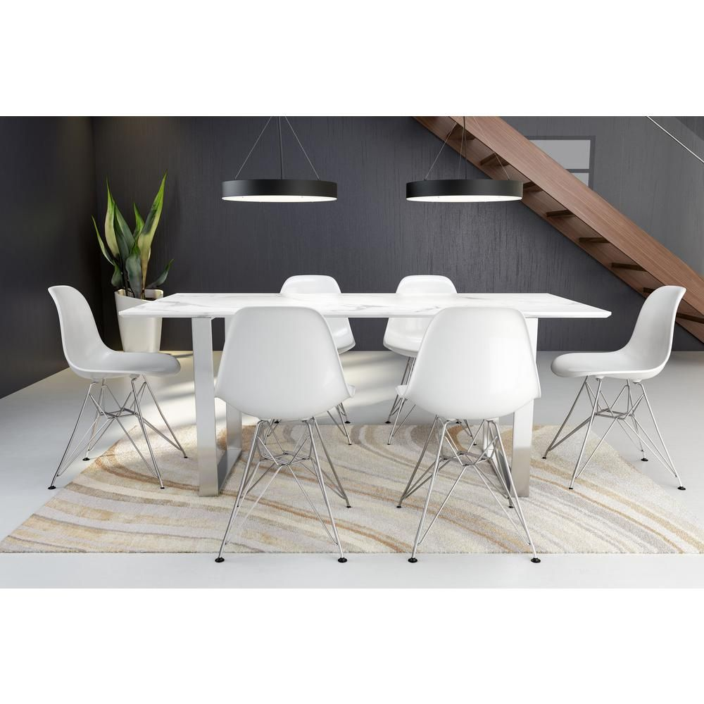 Atlas stone grey and brushed stainless steel dining table