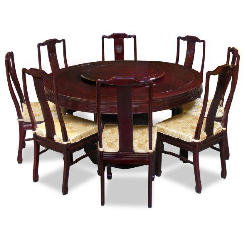 60in Rosewood Round Dining Table With 8