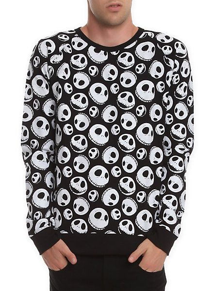 Hot Topic Nightmare Before Christmas Sweater.The Nightmare Before Christmas Jack Skellington Sweatshirt