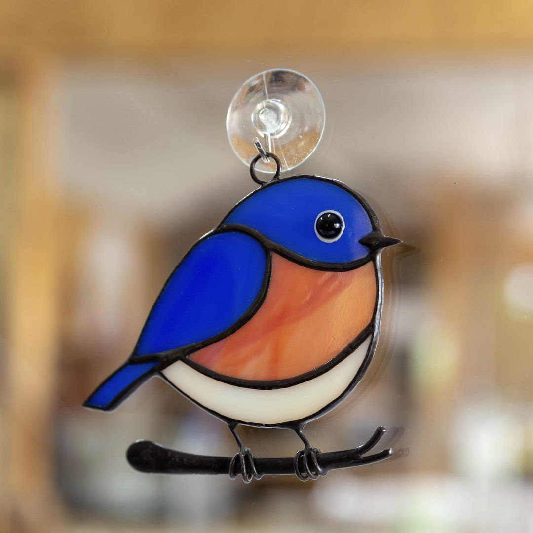 Bluebird stained glass window hanging stained glass