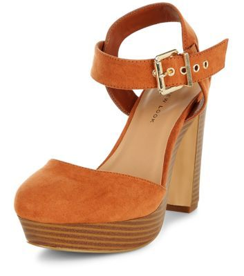 Wide Fit Tan Suedette Platform Heels