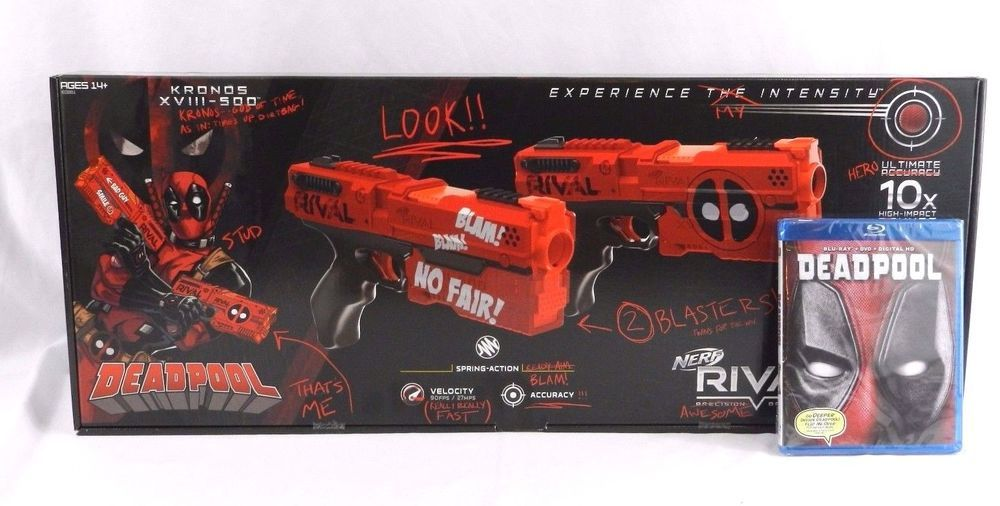 New 2017 Limited Edition DeadPool Nerf Rival Dual Pack Blaster w Blue Ray  DVD