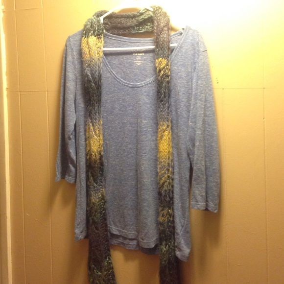 Winter/Fall set Quarter sleeves, scoop neck, loose fitting shirt. With knitted scarf. Colors in the scarf are blue, teal, purple and mustered yellow. No flaws EUC. Offer or bundle! Willing to sell separate! Old Navy Sweaters Crew & Scoop Necks