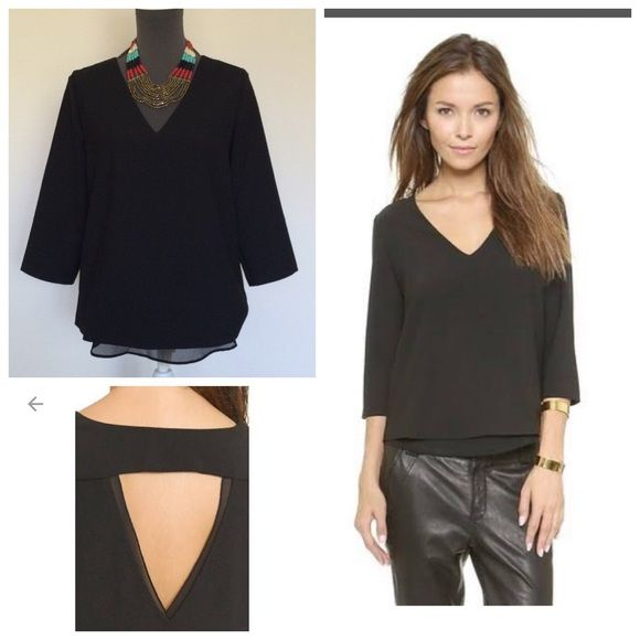 Black Cooper and Ella 3/4 sleeve Blouse A deep V neckline and back keyhole lend allure to a draped Cooper & Ella blouse. A sheer peek-a-boo hem . 3/4 sleeves. Lined Exact top on sale now on Shopbop.com for $125!! Brand new with tags never been worn Tops Blouses