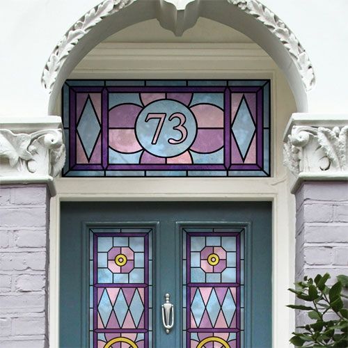 hoffman design art nouveau house number made to measure stained