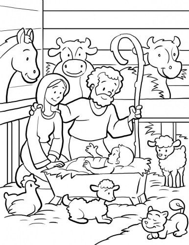 nativity scene coloring pagelink is no longer active but i just copied the image into a word document and enlarged it then printed it - Nativity Coloring Pages Printable