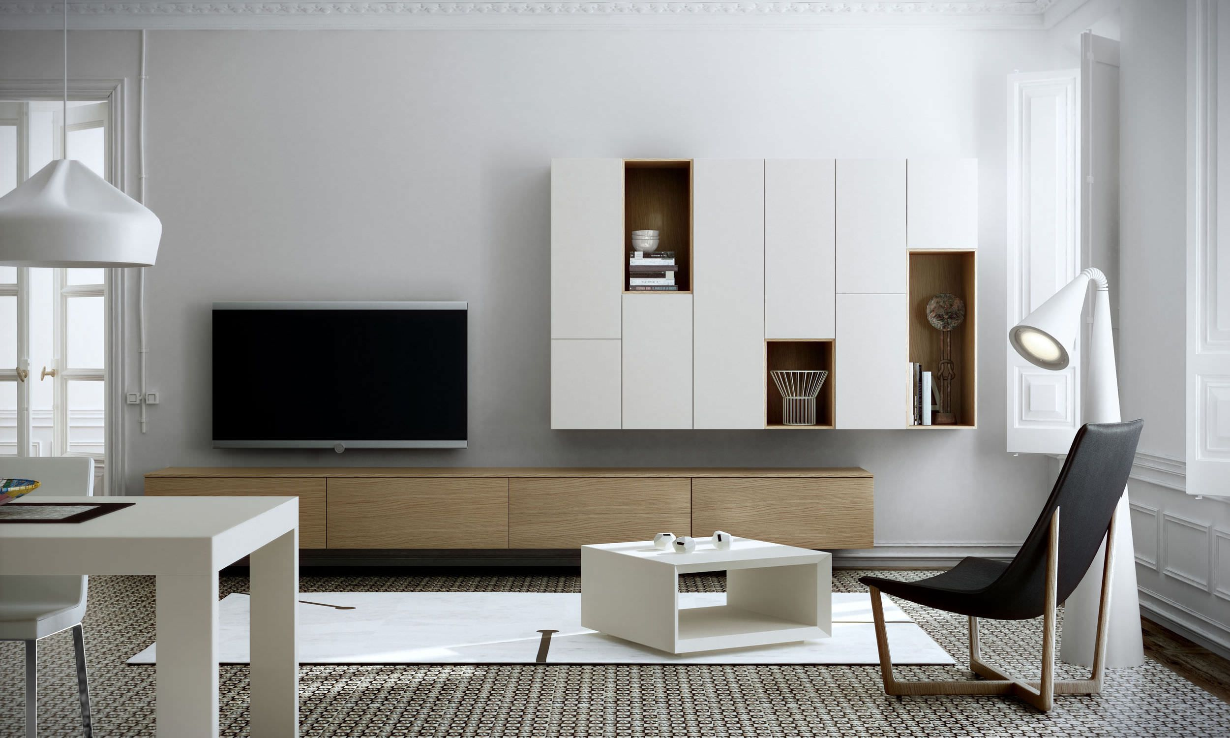 contemporary lacquered tv wall units in White and Brown Under