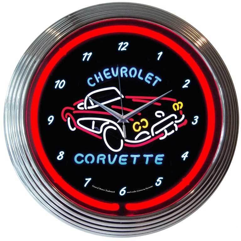 Corvette C1 11 Wall Clock In 2020 Neon Clock Wall Clock Glass Corvette