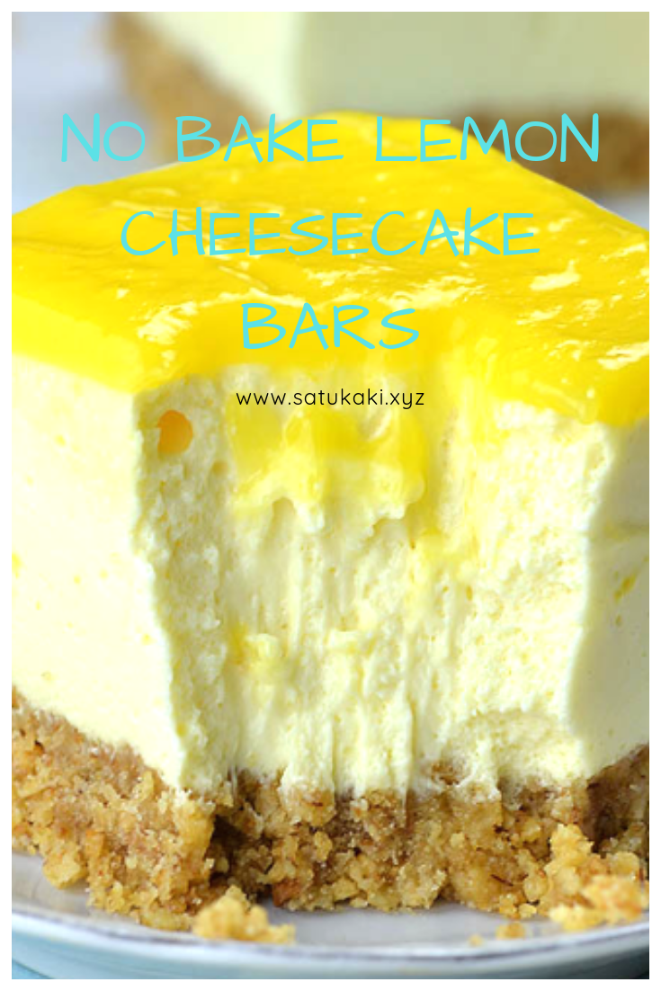No Bake Lemon Cheesecake Bars #lemonmeringuecheesecake