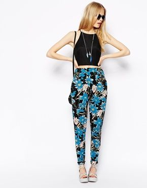 ASOS Peg Trousers in Dark Floral Print