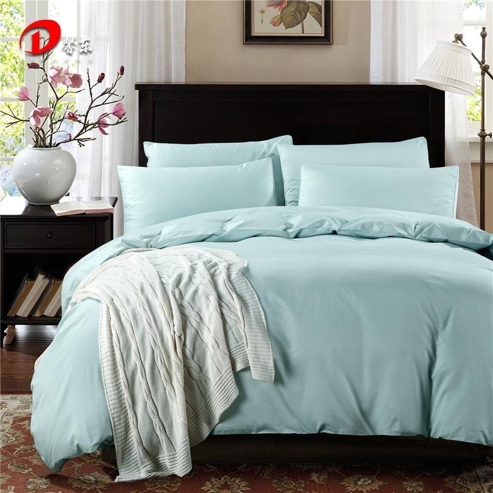Blue Satin Bedding Set Luxury Egyptian Cotton Bed King Queen Size High Quality Linen 4pcs Le Duvet Cover Z30