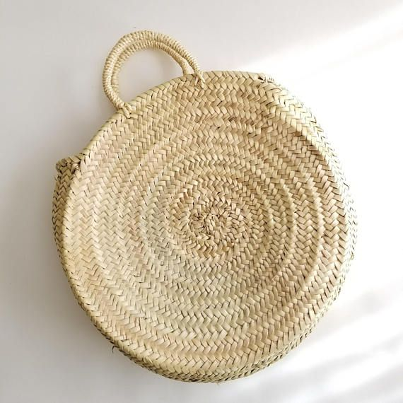 207c6c2cd8 Round Straw Bag with Straw Handles in 2019